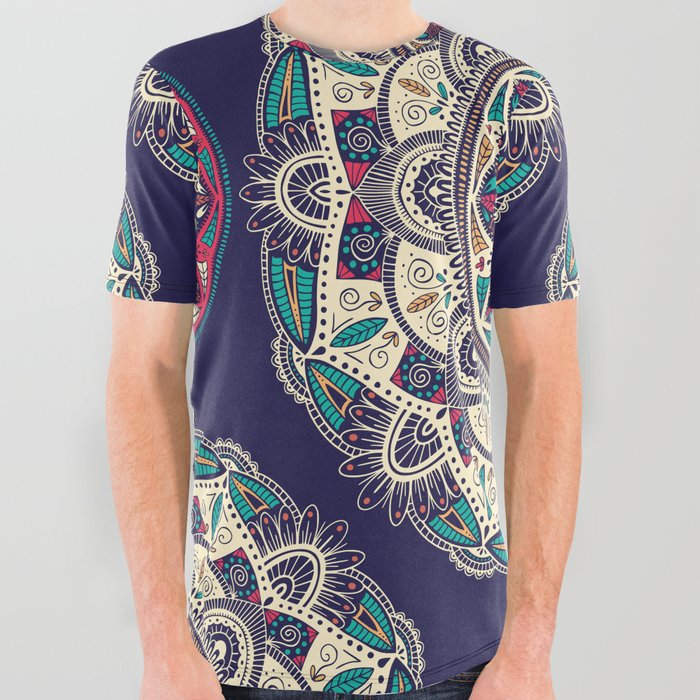 Colorful Mandala Pattern 007 All Over Graphic Tee