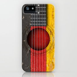 Old Vintage Acoustic Guitar with German Flag iPhone Case