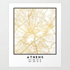 ATHENS GREECE CITY STREET MAP ART Art Print