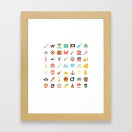 CUTE PIRATES PATTERN (PIRATE SHIP CHARACTERS) Framed Art Print