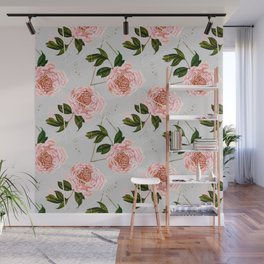 Pattern peonies and golden triangles Wall Mural