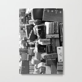 TOWER OF LUGGAGE in Black & White Metal Print