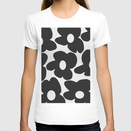 Black Retro Flowers White Background #decor #society6 #buyart T-shirt