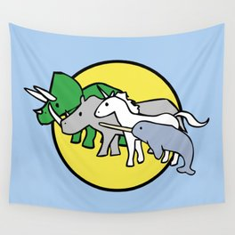 Horned Warrior Friends (unicorn, narwhal, triceratops, rhino) Wall Tapestry