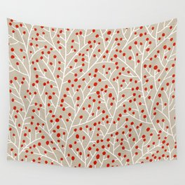 Red & White Berry Branches Wall Tapestry