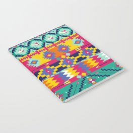 Seamless colorful aztec pattern with birds Notebook