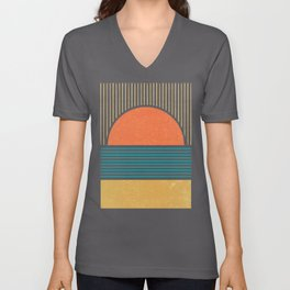 Sun Beach Stripes - Mid Century Modern Abstract Unisex V-Neck