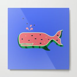 Watermelon whale Metal Print