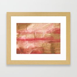Red Pink stained watercolor texture Framed Art Print