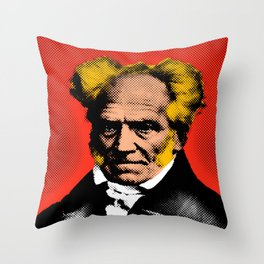 Pop Art Schopenhauer in Red Background  Throw Pillow
