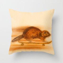 Rider  - Beaver skateboarder Throw Pillow
