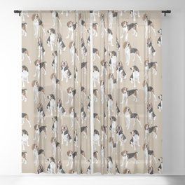 Treeing Walker Coonhounds on Tan Sheer Curtain