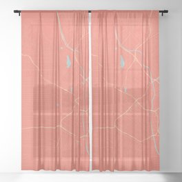 Los Angeles, California City Map in Coral Pink Sheer Curtain
