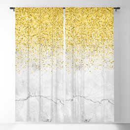 Gold Glitter and Grey Marble texture Blackout Curtain