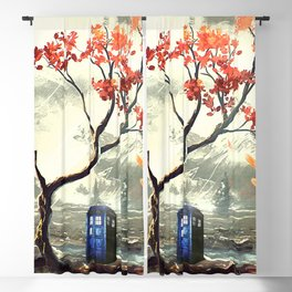 Tardis Art And The Tree Blossom Blackout Curtain