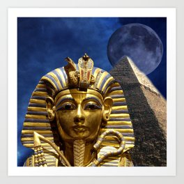 King Tut and Pyramid Art Print
