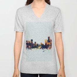 Detroit Michigan Skyline Unisex V-Neck