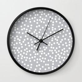 Silver Gray and White Polka Dot Pattern Wall Clock