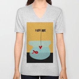 Fish me- with funny caption Unisex V-Neck