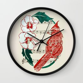 The Birds Chorus  ( Cardinal and Rose of Sharon) Wall Clock