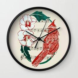 The Birds Chorus  ( Cardinal and Rose of Sharon) Wall Clock
