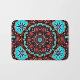 Abstract - Wood & Turquoise Pattern Bath Mat
