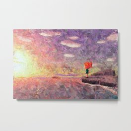 Animal Crossing: New Horizons Sunset Vista Impressionist Painting Metal Print