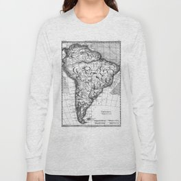 Vintage Map of South America (1780) BW Long Sleeve T-shirt