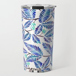 Happy Sloth – Tropical Blue Leaves Travel Mug