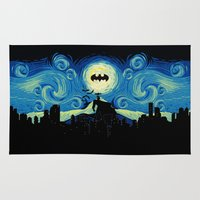 gotham Area & Throw Rugs featuring Starry Knight Gotham City by DavinciArt