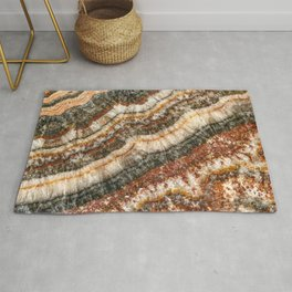 Agate Crystal // Red Gray Black Yellow Orange Marbled Diamond Luxury Gemstone Rug