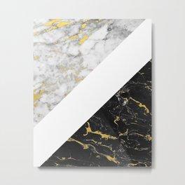 Marble Mix // Gold Flecked Black & White Marble II Metal Print