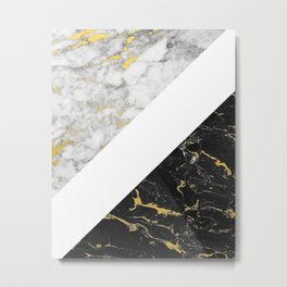 Marble Mix // Gold Flecked Black & White Marble II Metal Print