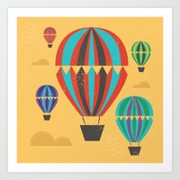 hot air balloons Art Prints featuring Hot Air Balloons by Marina Design