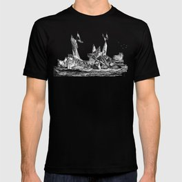 1810 vintage nautical octopus steampunk kraken sea monster drawing print Denys de Montfort retro T-shirt