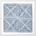 Simply Tribal Tile in Indigo Blue on Sky Blue by followmeinstead