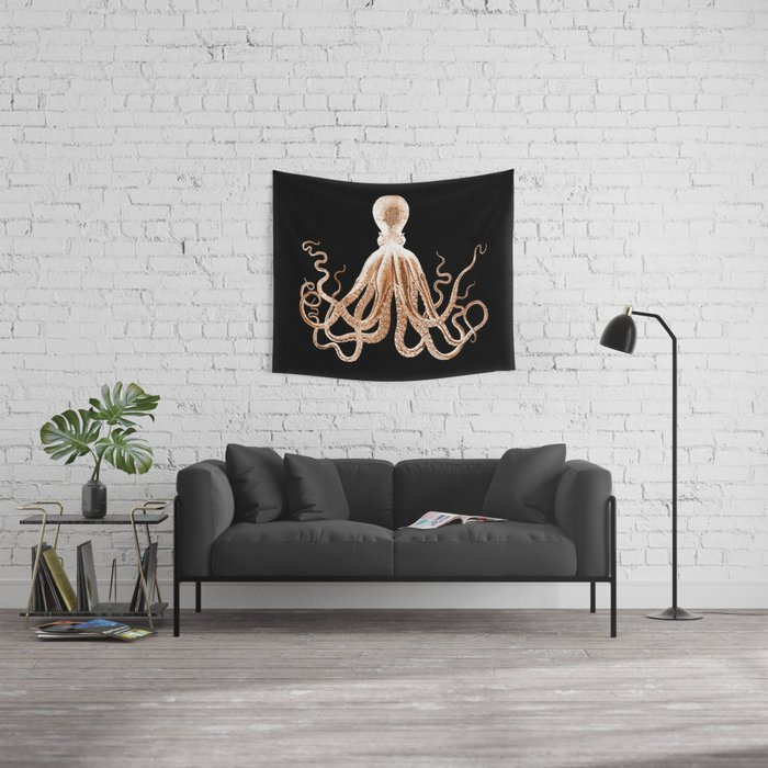 Octopus sea nautical beach coastal Wall Tapestry