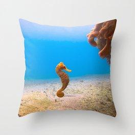 Tropical Seahorse Throw Pillow