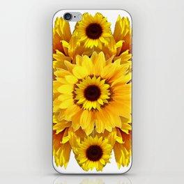 YELLOW SUNFLOWER  CLUSTER WHITE GARDEN ART iPhone Skin