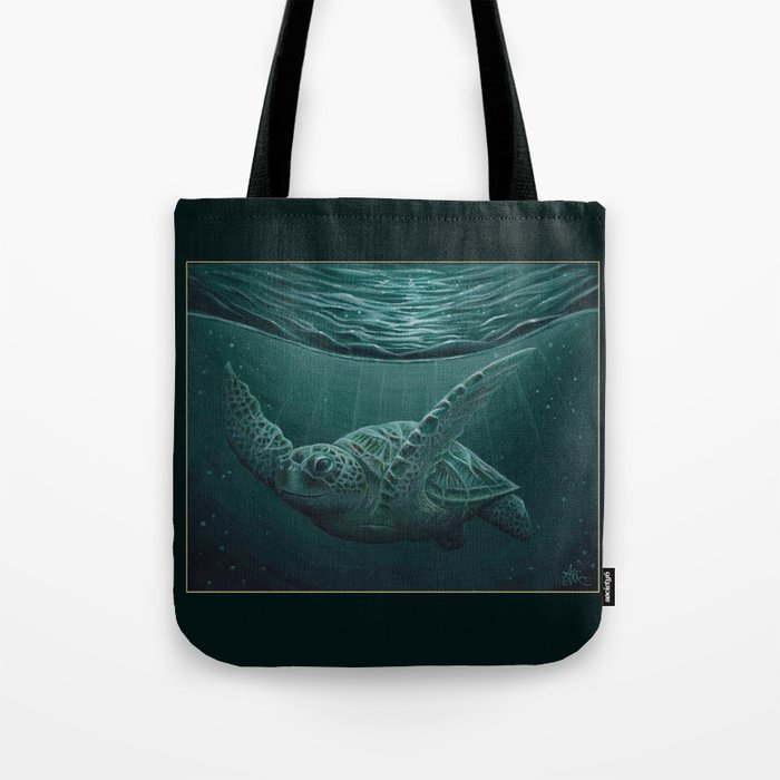 """""""Eclipse"""" by Amber Marine - Sea Turtle, Acrylic Painting, (Copyright 2015) Tote Bag"""