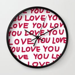 Red and white love text Wall Clock