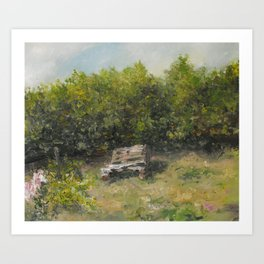 pallets bench in summer  Art Print