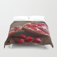 pomegranate Duvet Covers featuring pomegranate by Life Through the Lens
