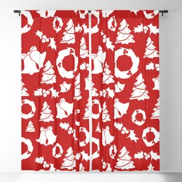 Christmas in Red & White Blackout Curtain