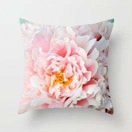 Peony Flower Photography, Pink Peony Floral Art Print Nursery Decor A happy life - Peonies 2 Throw Pillow