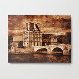 The Louvre Museum and the Royal Bridge in Paris Metal Print