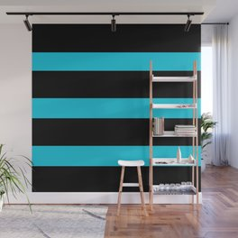 Hollywood Nights Black and Teal Stripes Wall Mural
