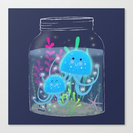Vacation Memories With Jellyfish In A Jar Canvas Print
