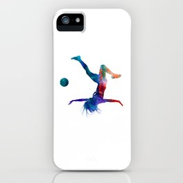 Woman soccer player 08 in watercolor iPhone Case