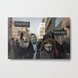 ACTA Protest Berlin - Guy Fawkes Metal Print